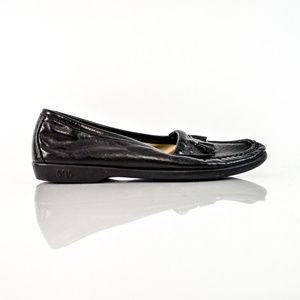 SAS Black Leather Slip On Loafer Flats Tassel